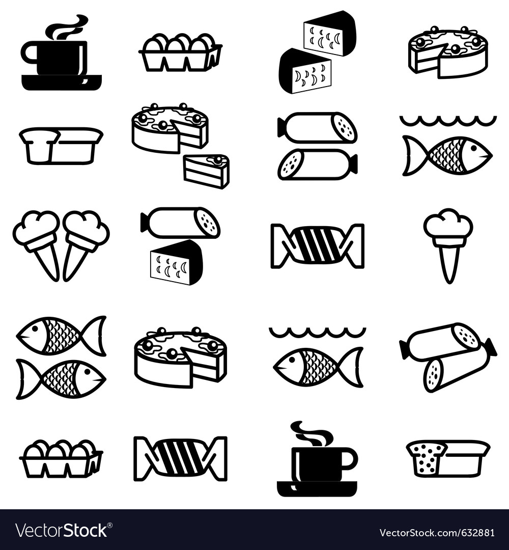 Set of silhouettes of icons on the food theme vector