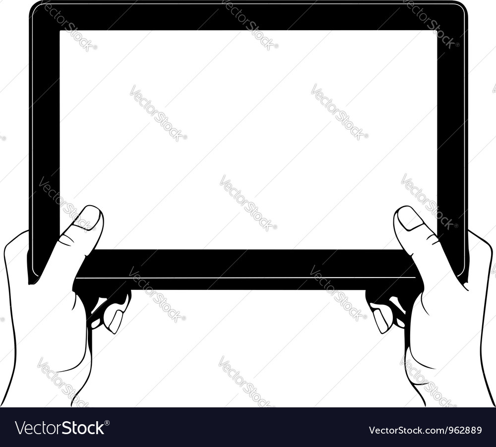 Hand holding digital tablet pc vector