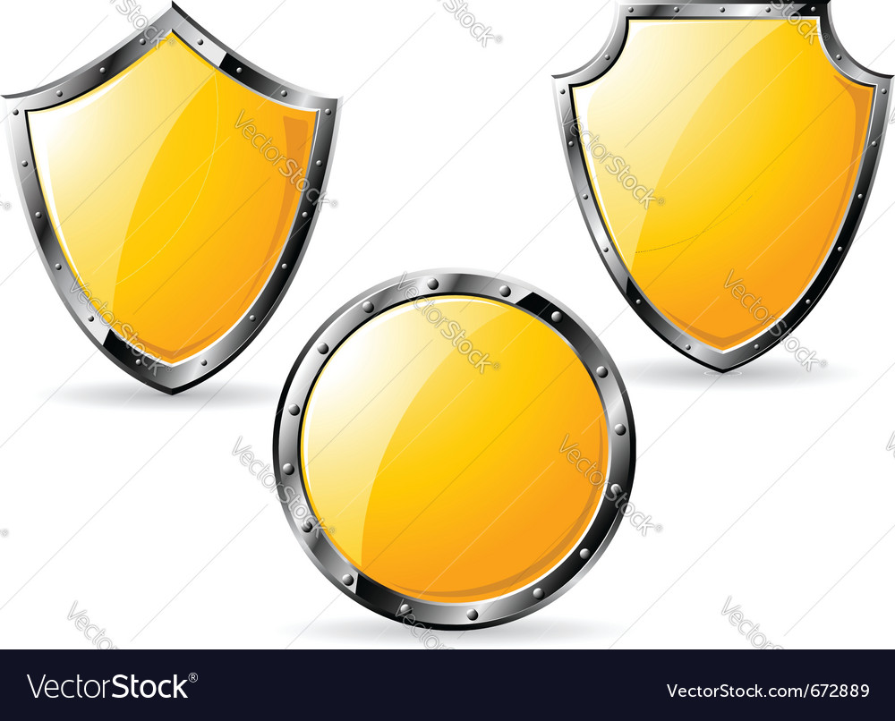 Set of yellow steel shields vector