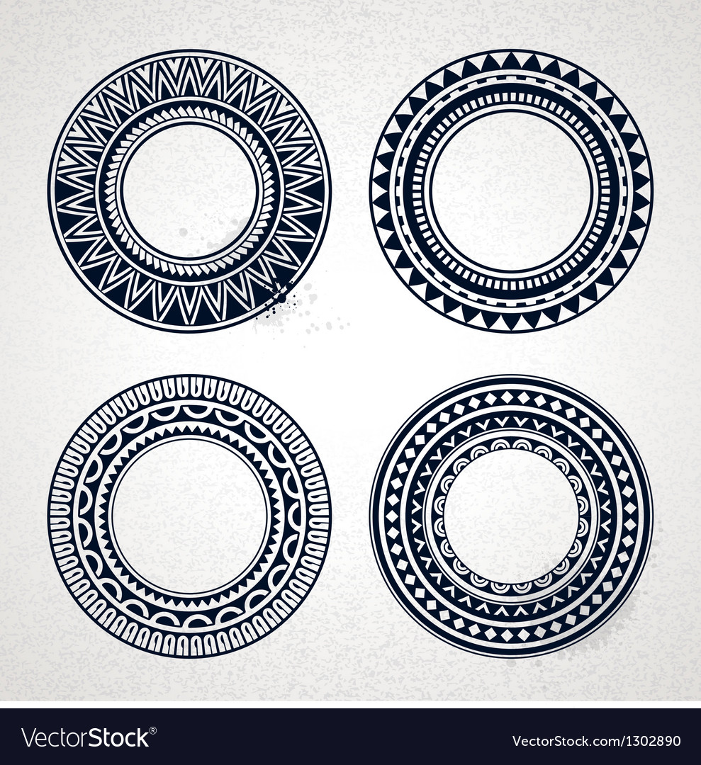Polynesian circle patterns vector