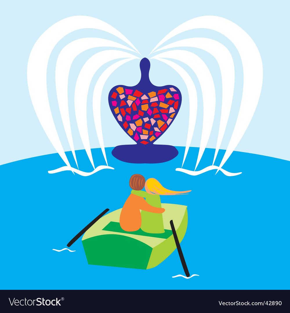 Valentine on boat vector