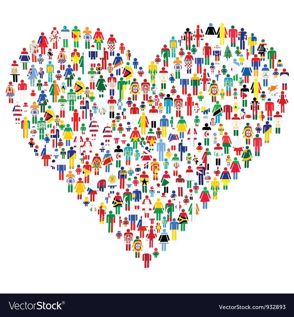 People made heart shape vector