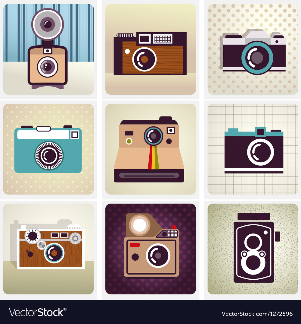 Old vintage camera set vector
