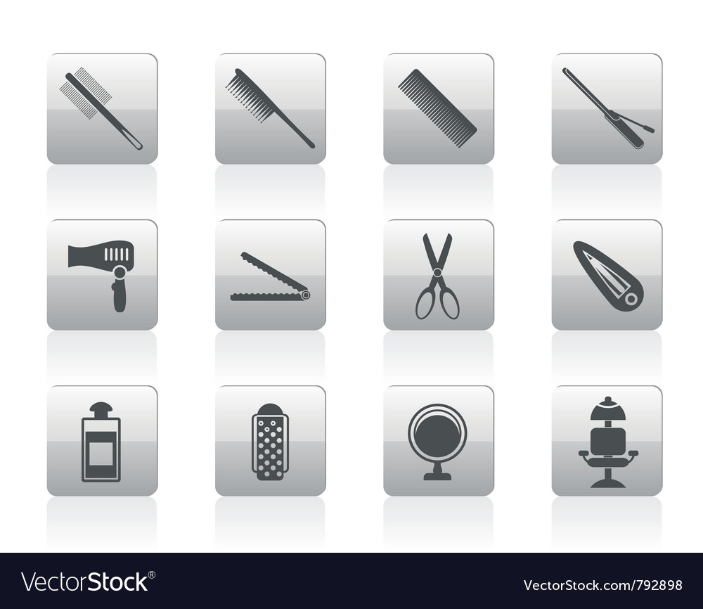 Hairdressing and makeup icons vector