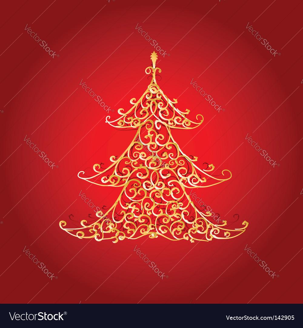 Christmas tree golden ornament vector art - Download vectors - 142905