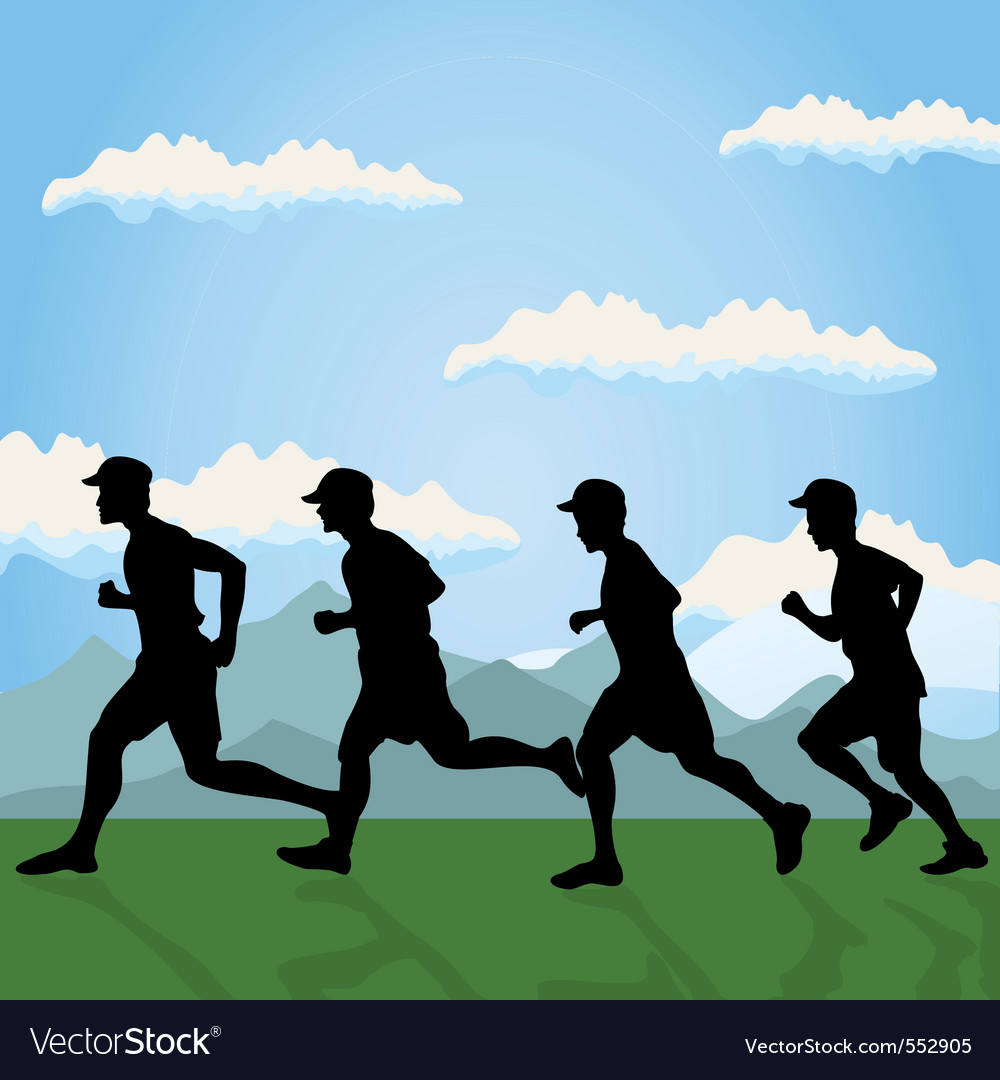 Run of group of men on the nature a  illustr vector