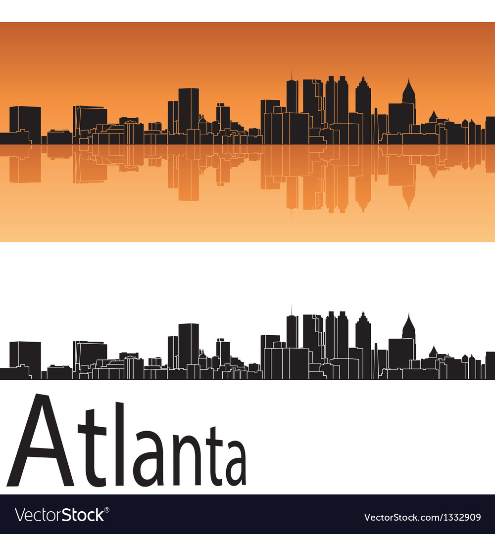 Atlanta skyline in orange background vector