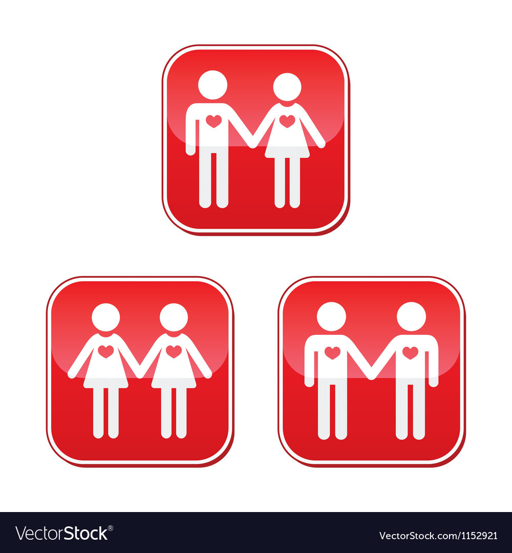 Hetero gay and lesbian love couples buttons set vector