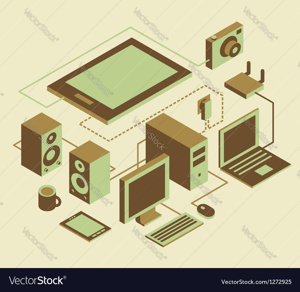 Computer notebook tablet pc display monitor camera vector