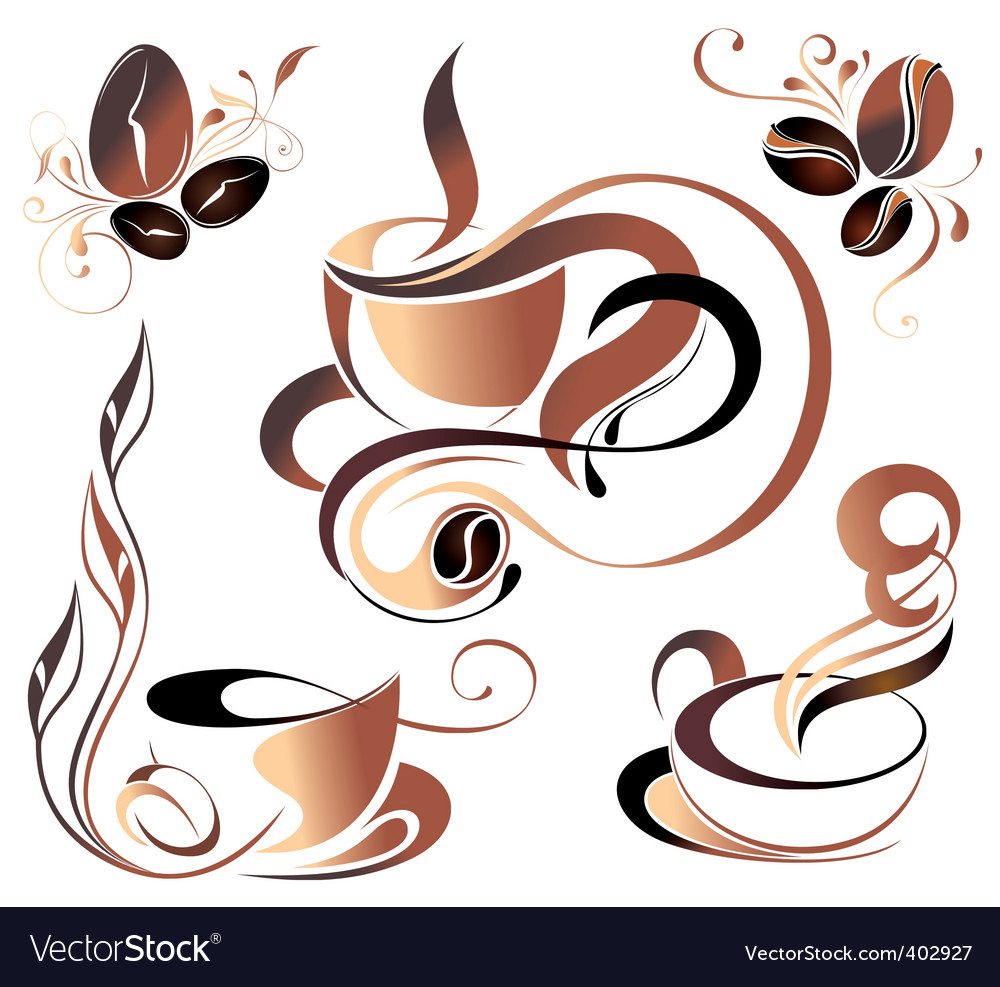 Coffee elements for design vector