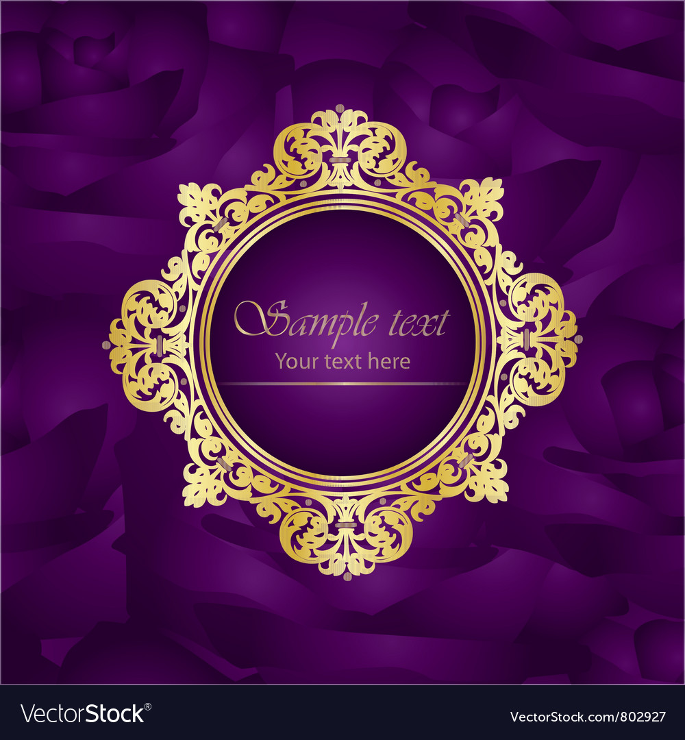 Purple luxury square background gold frame roses vector