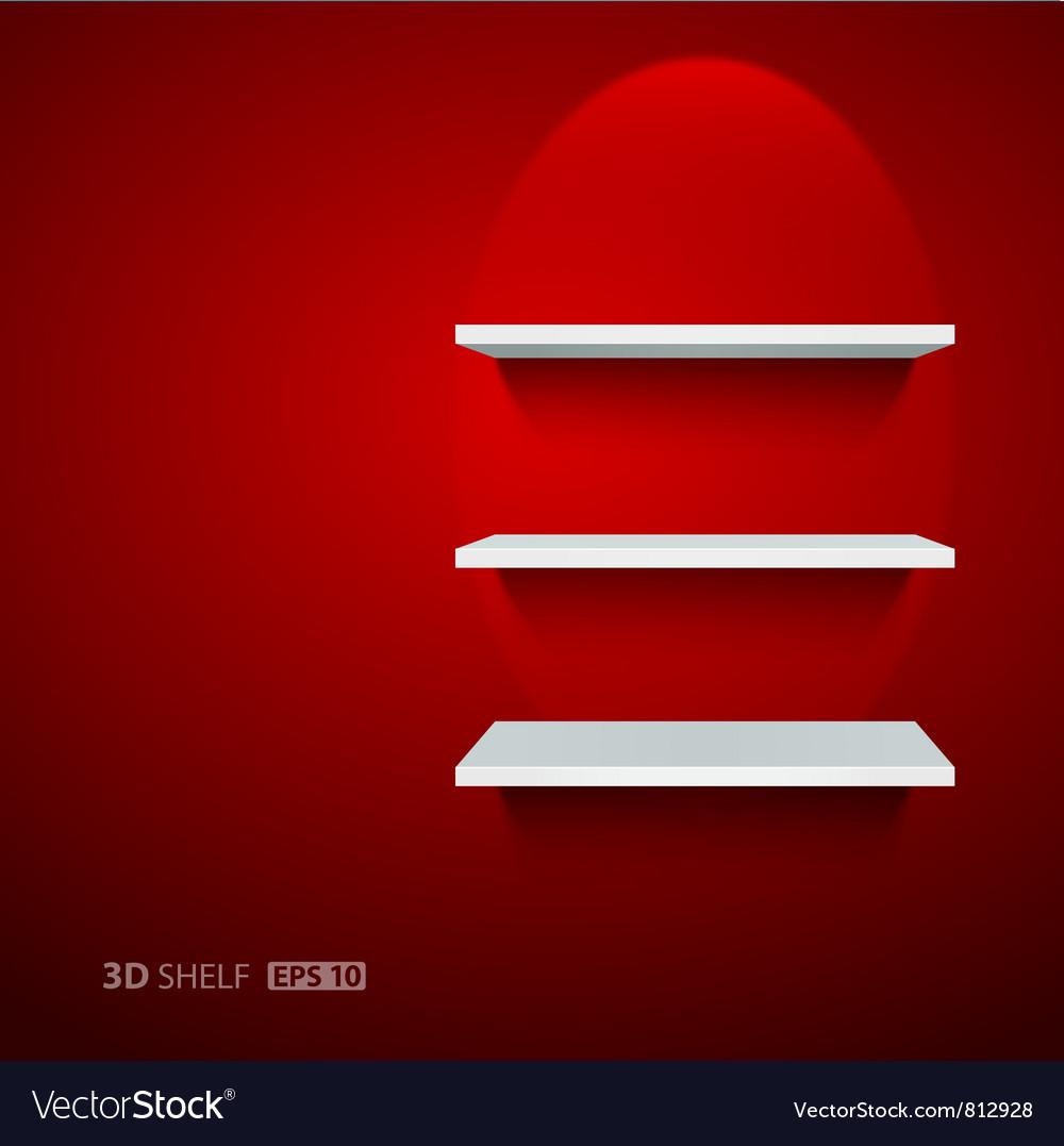 Empty white ehelf for exhibit on red background vector