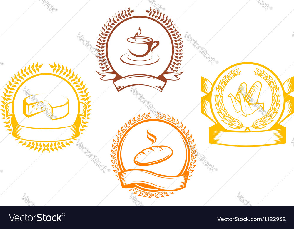 Food symbols with laurel wreathes and ribbons vector