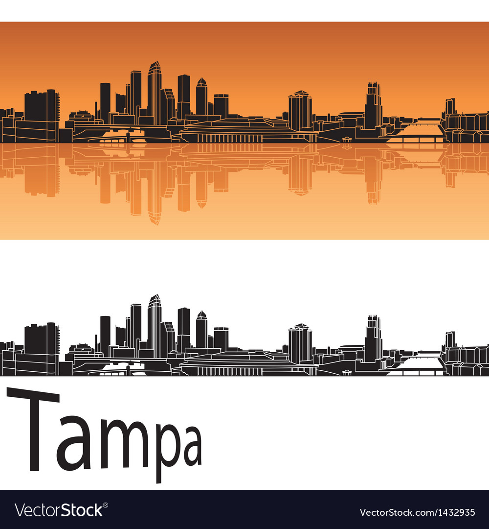 Tampa skyline in orange background vector