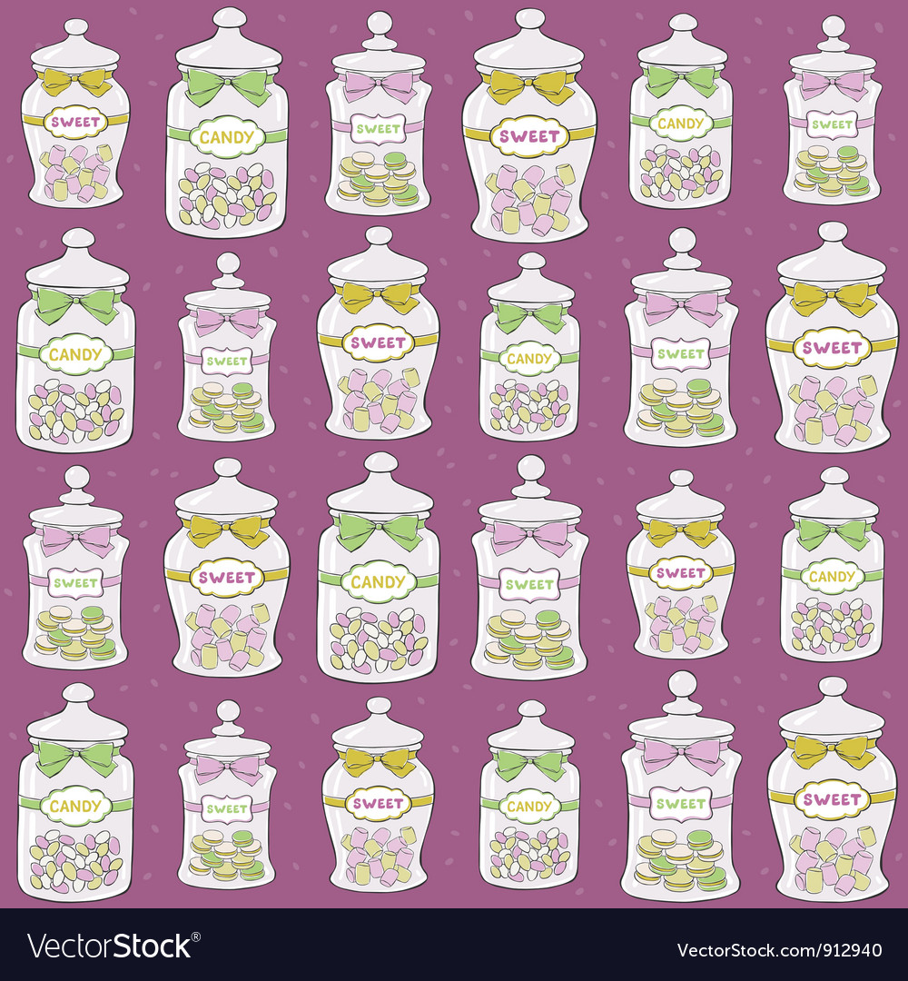 Jars with confections seamless pattern vector