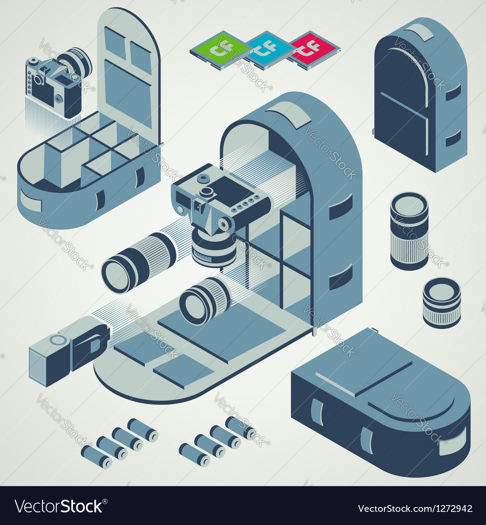 Camera photo backpack travel element set vector