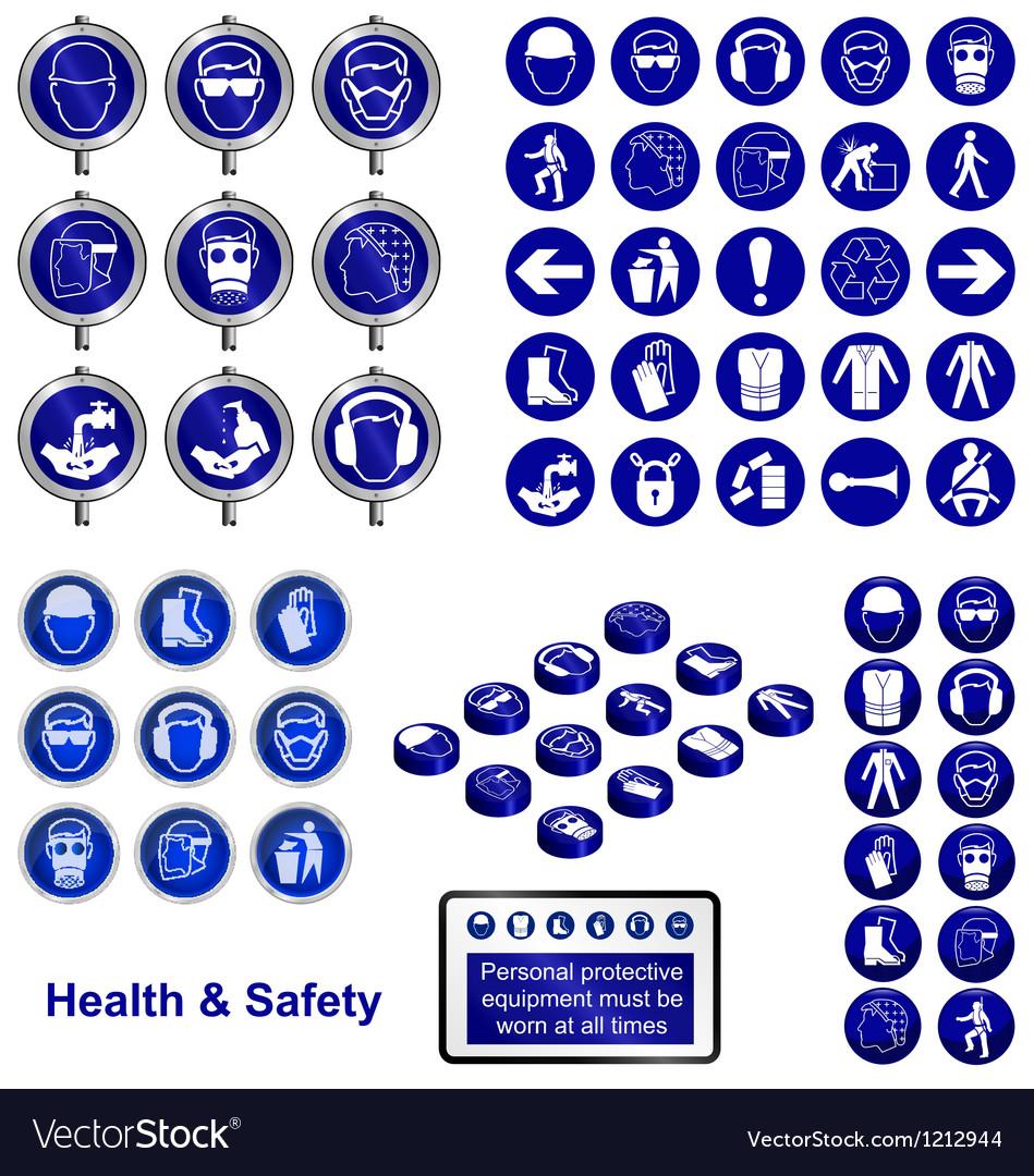 Health safety sign button set vector