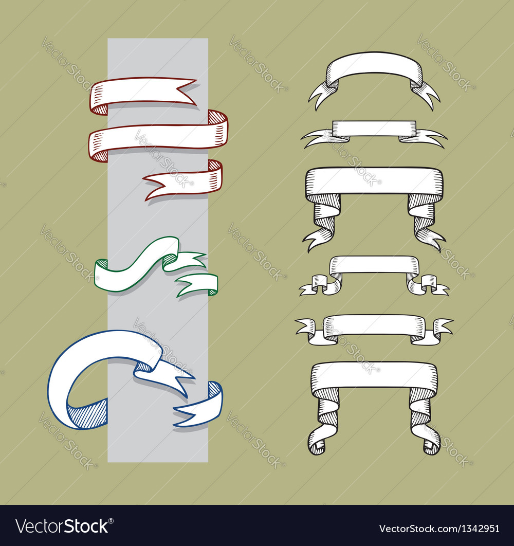 Ribbon banner and label sketches 1 vector