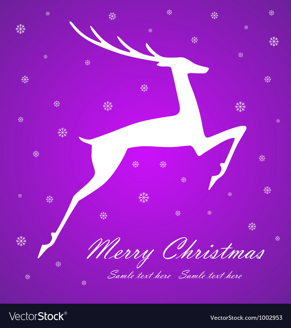 Christmas deer on violet background vector
