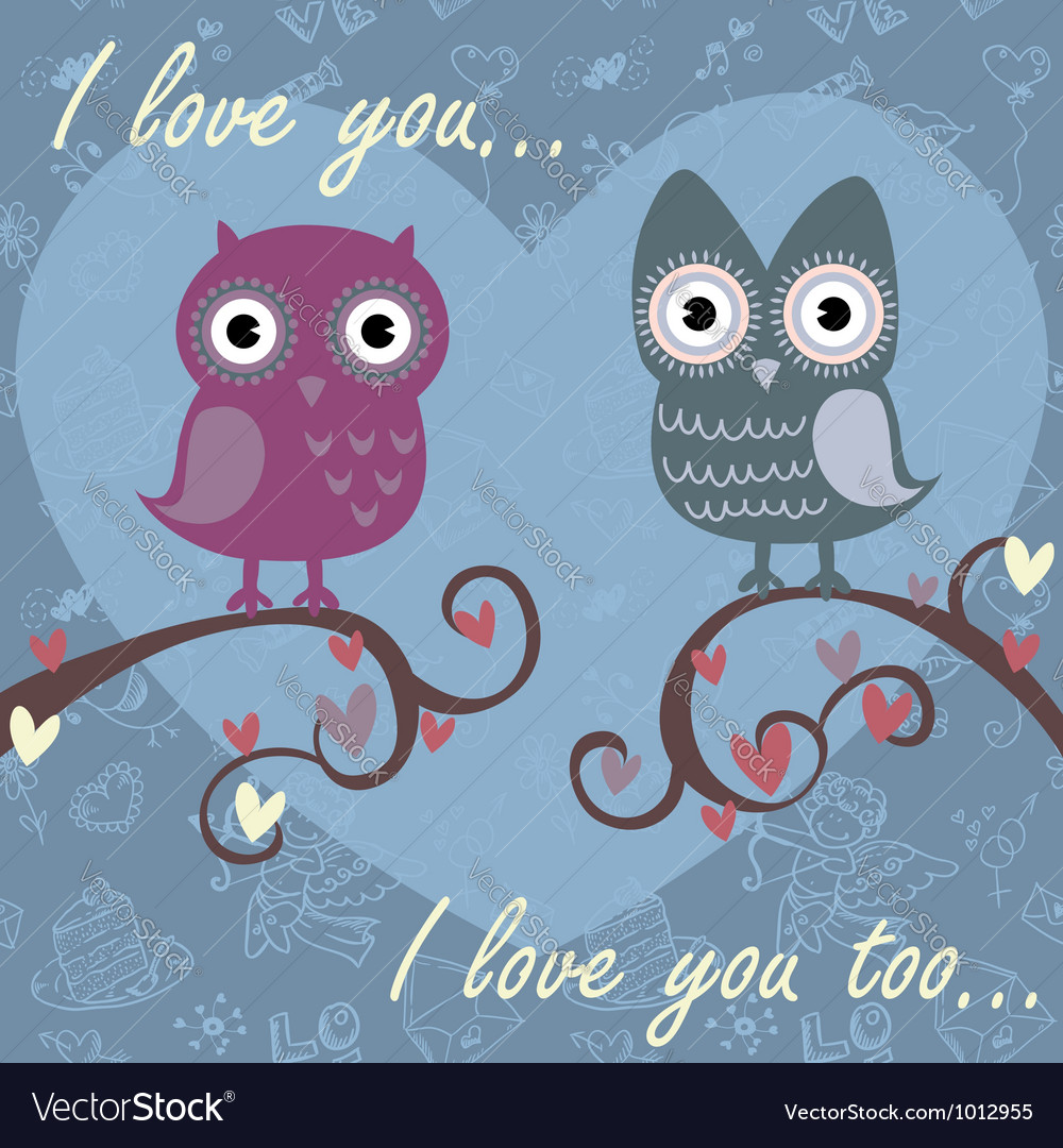 Owls darkblue vector