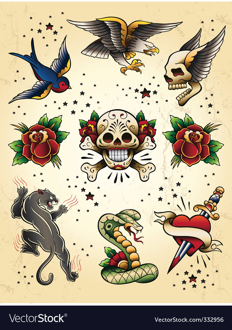 Tattoo flash  elements vector