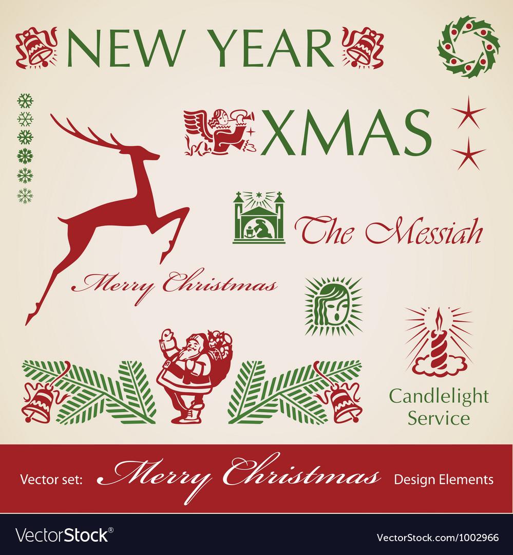 Set of christmas retro design elements vector