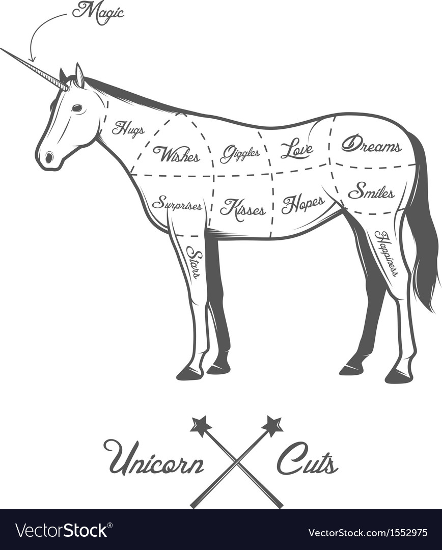 Funny halloween cuts of unicorn diagram vector