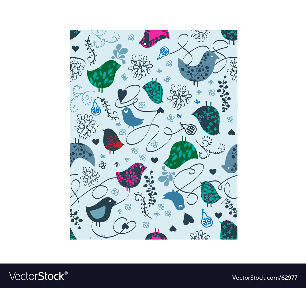 Birds and hearts seamless vector