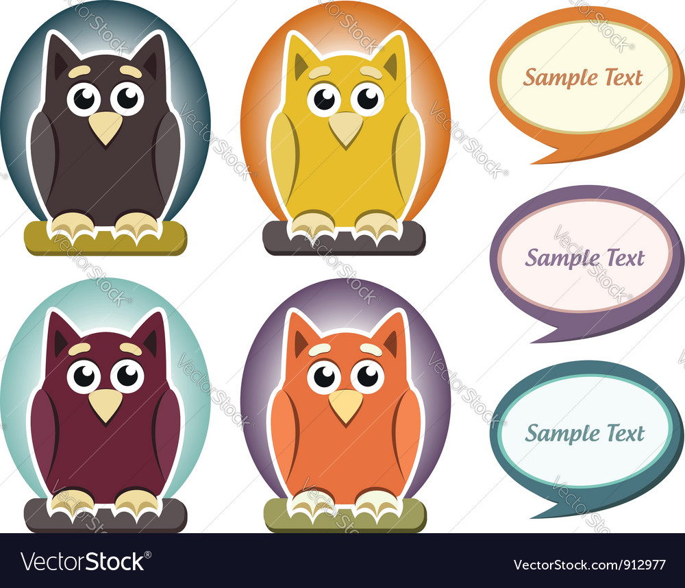 Cartoon owl with speech bubble vector