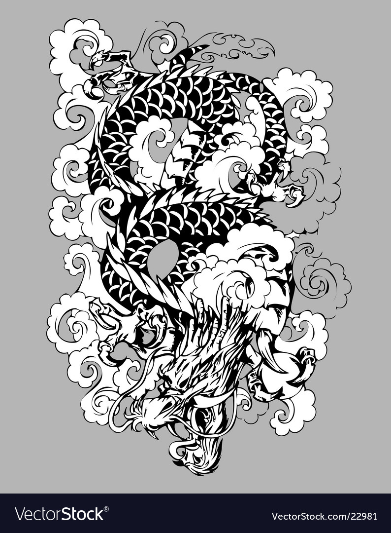 Dragon in clouds vector