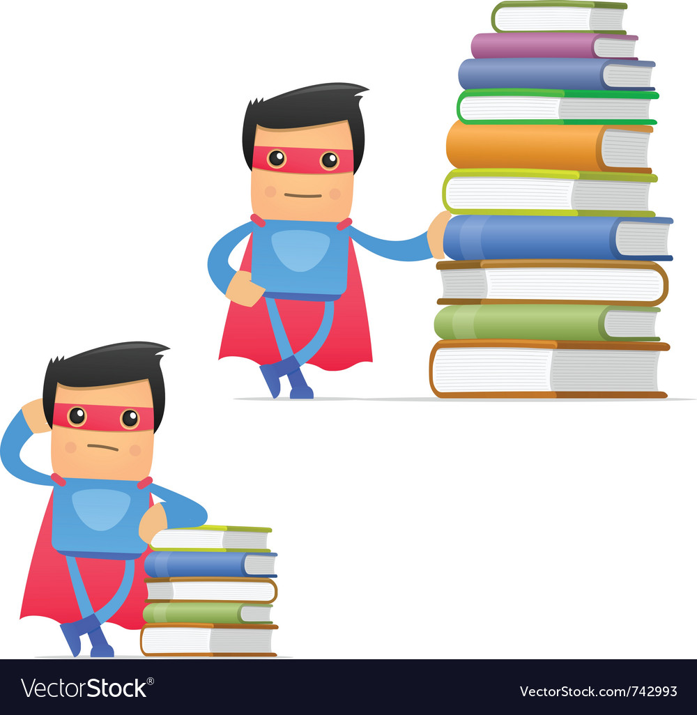 Superhero with books vector