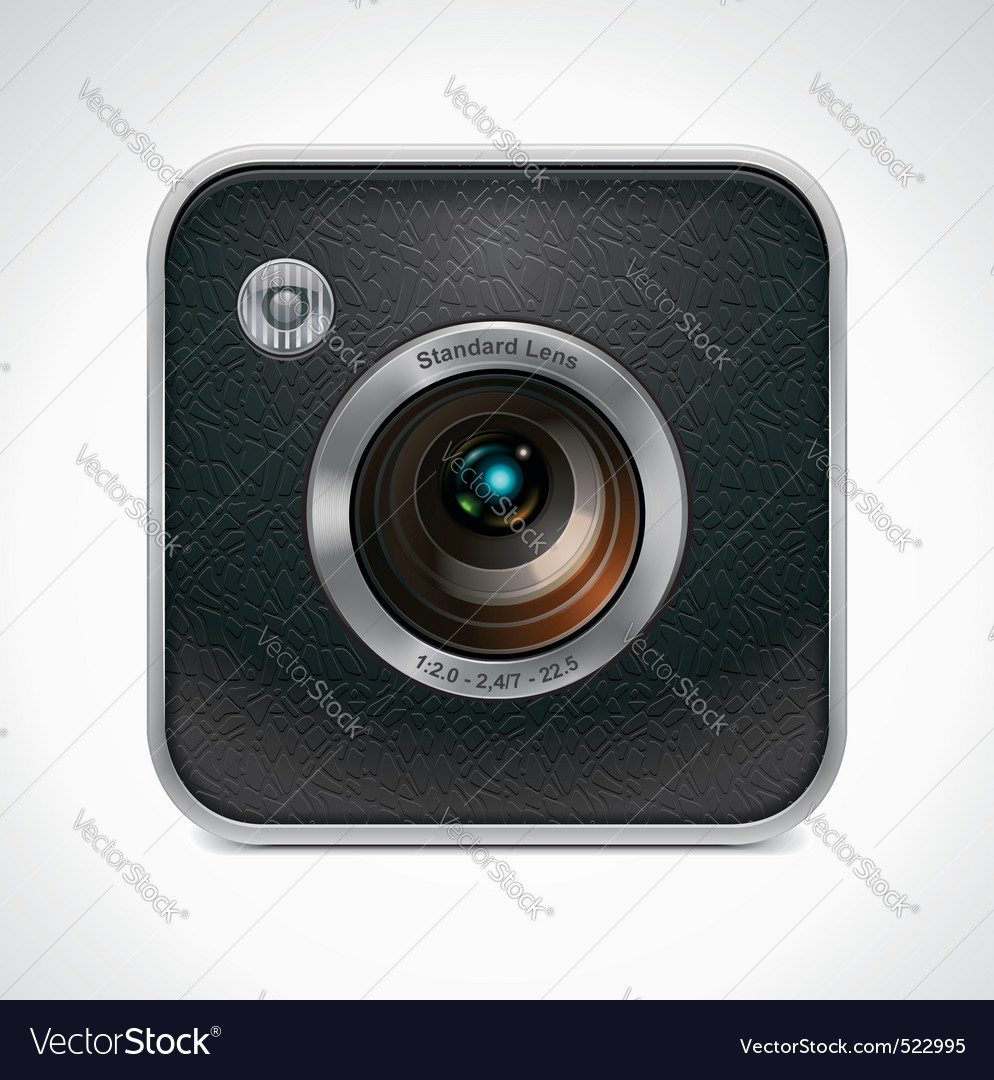 Square retro camera icon vector