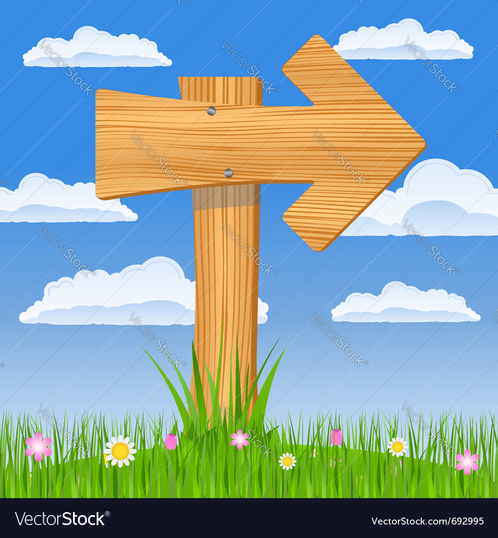 Wooden arrow sign vector