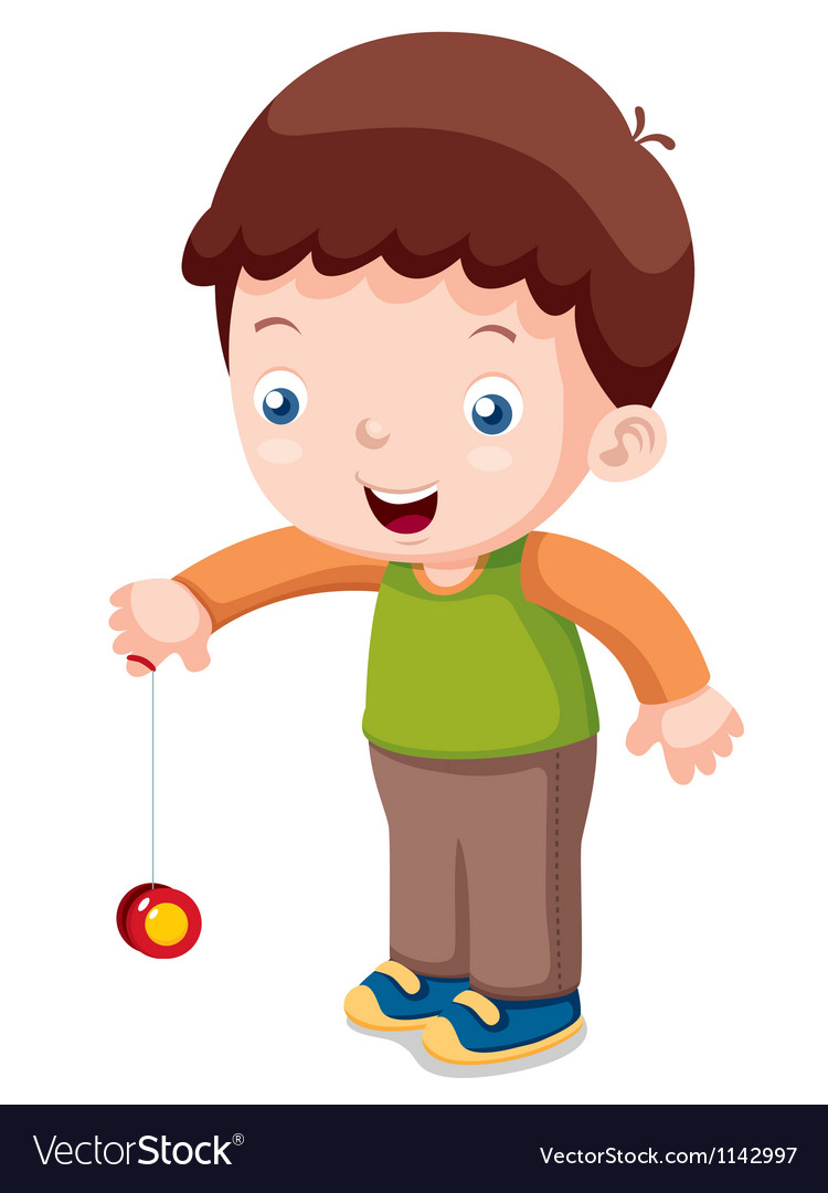 Cartoon boy playing yo-yo vector