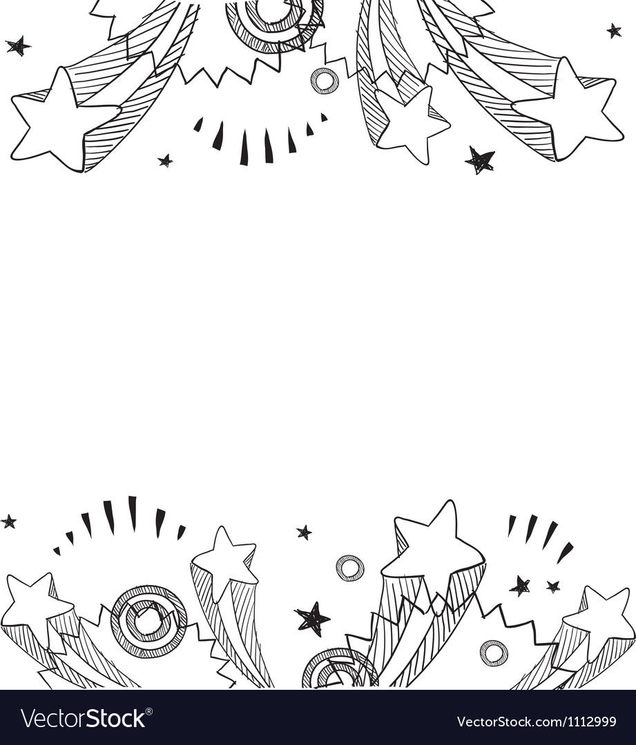 Doodle pop border horizontal vector