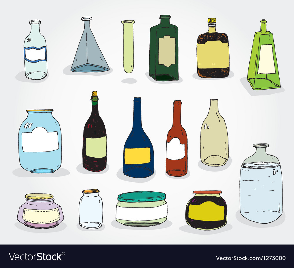 Cans and bottles colorful vector