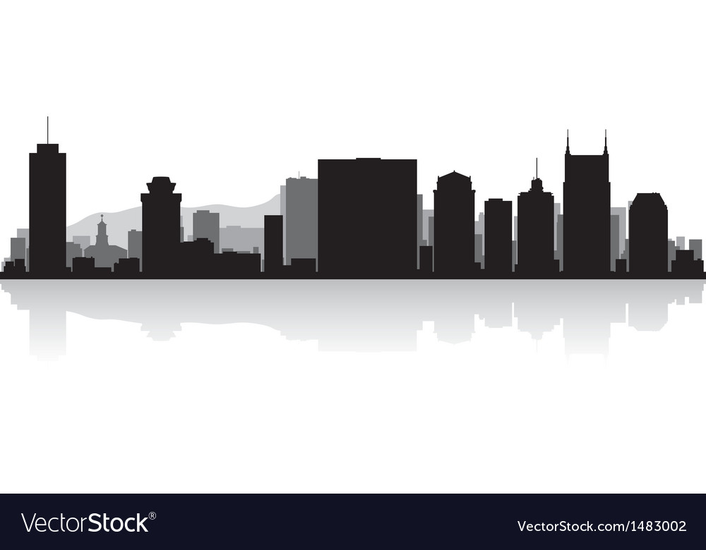 Nashville usa city skyline silhouette vector