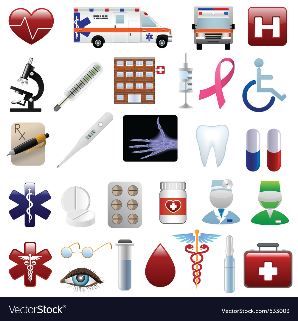 Medical and hospital icons set vector