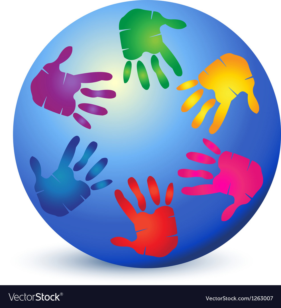 Hands painted on world logo vector