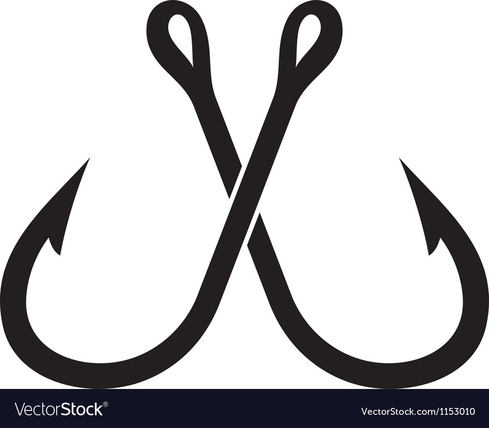 Two crossed fishing hook vector