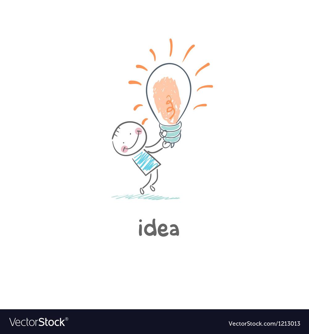 The big idea  man holding a giant lightbulb vector