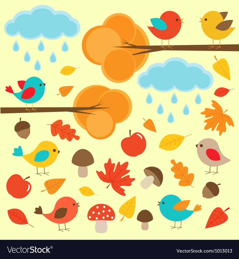 Birds in autumn forest vector