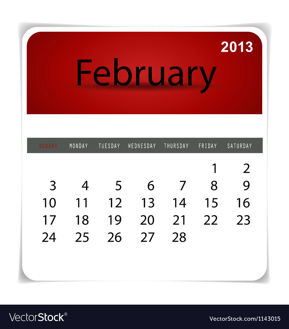 2013 calendar february vector
