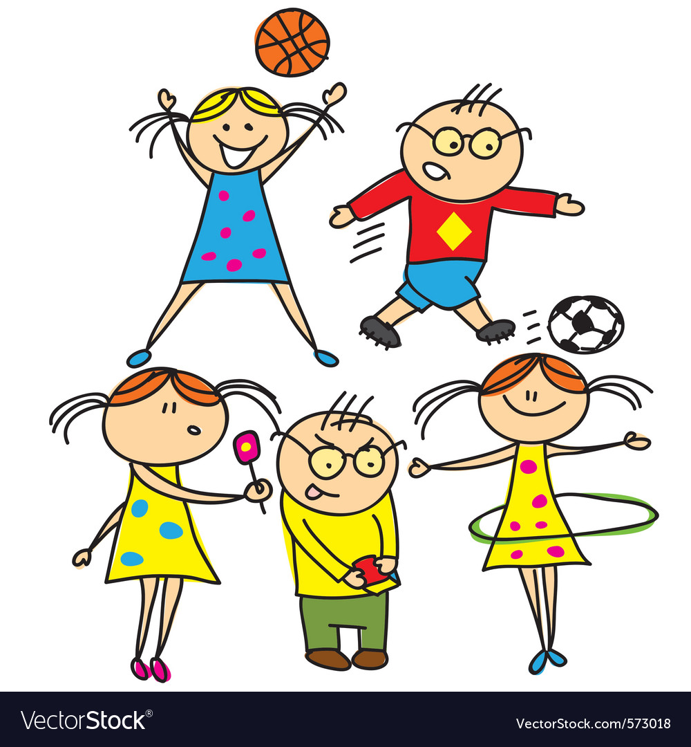 Boys and girls playing outdoors vector