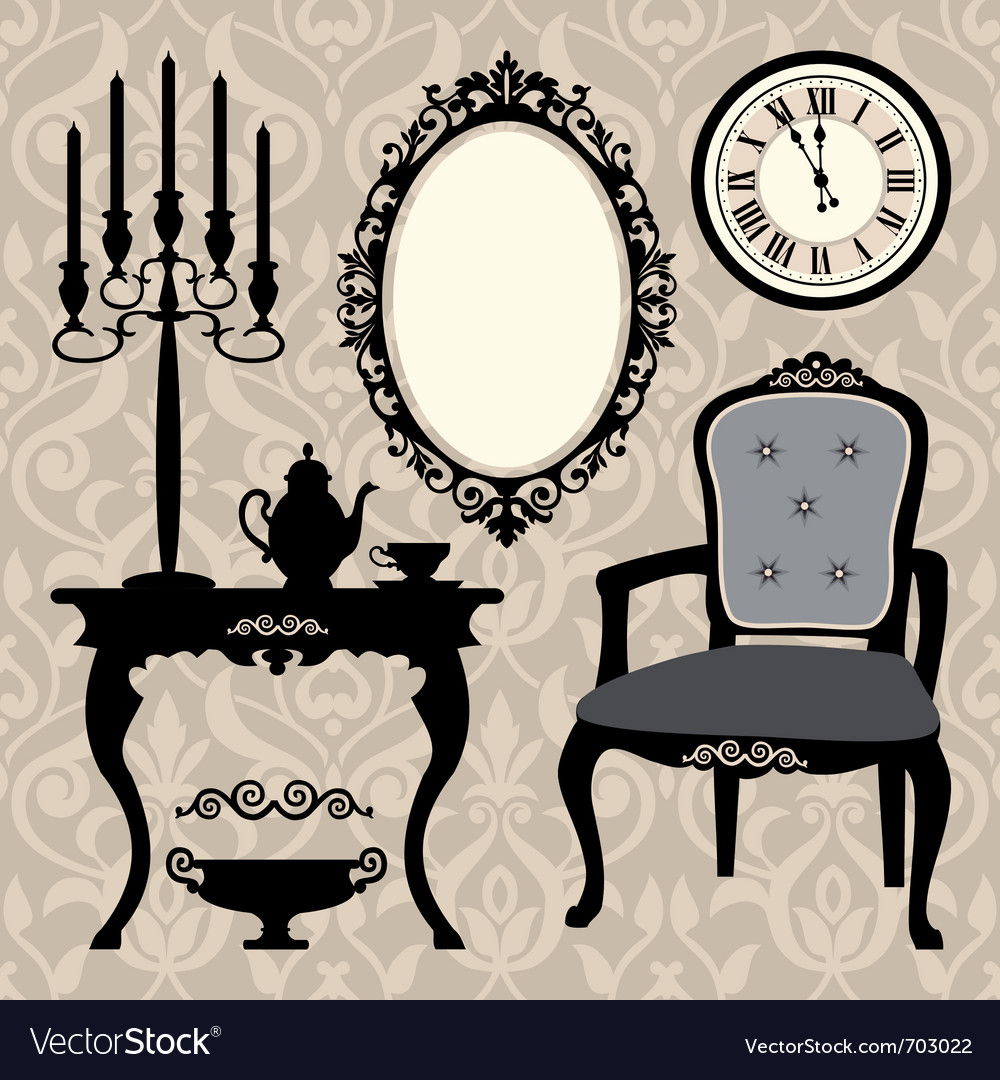 Set of antique furniture and objects vector