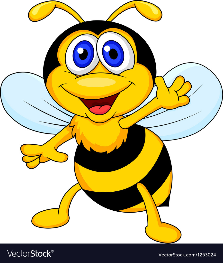 Cute bee cartoon waving vector