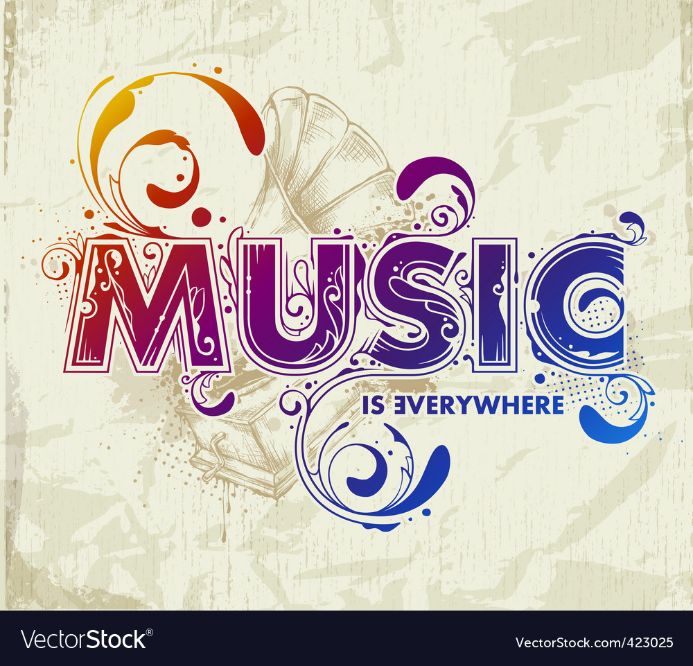 Hand drawn music lettering vector