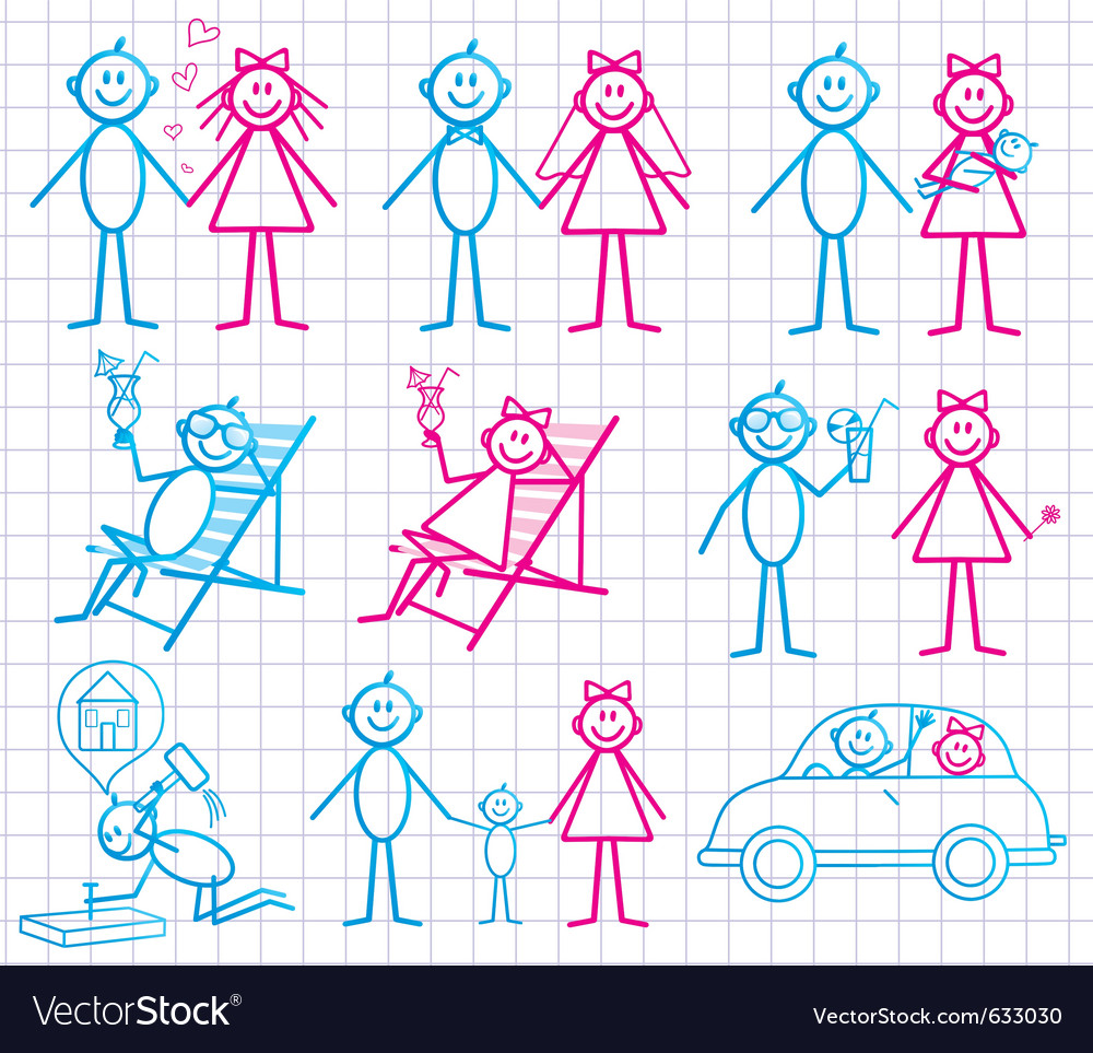 Set of funny cartoon people vector