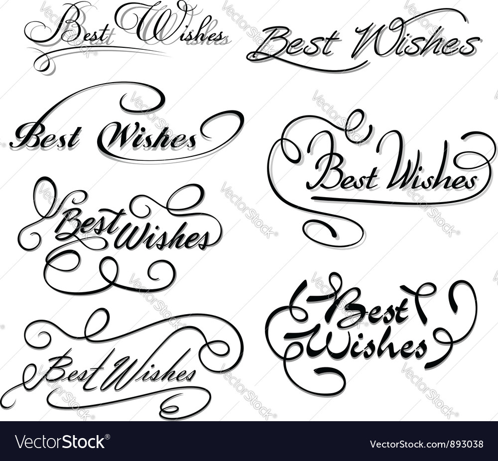 Best wishes calligraphic elements vector