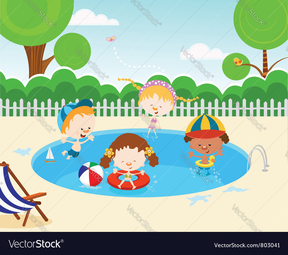 Kids in swimming pool vector by pinipin image 803041 vectorstock
